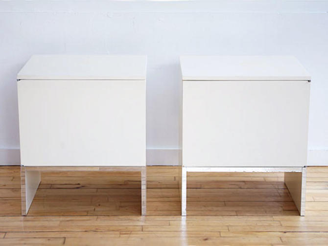 Pair 1970's White Laminate Side Tables