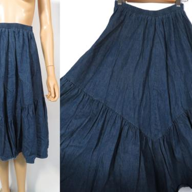 Vintage 70s Prairie Boho Denim Square Dance Ruffle Skirt Size S by VelvetCastleVintage