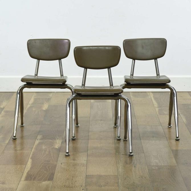 Set Of 3 Vintage Industrial Stackable School Chairs