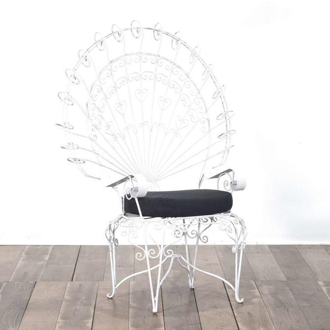 Bohemian White Twist Metal Peacock Armchair 2