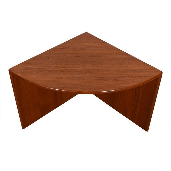 Danish Modern Teak Quarter Round Corner Accent Table