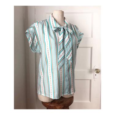1970s / 1980s Silky Polka Dot & Striped Short Sleeve Blouse with Bow Tie--- very Mary Tyler Moore----- size Med by VeeVintageShop