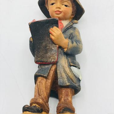 Vintage hand carved and hand painted Carving Little Boy Holding Book, Jobin Brienz Switzerland.  figurine- by JoAnntiques