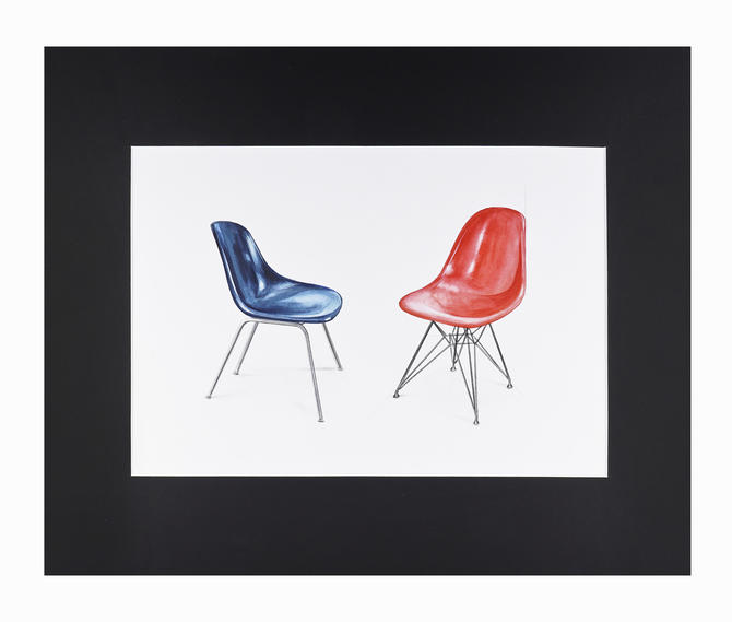 Watercolor Painting Eames Molded Plastic Chair Interior Design Mid Century Modern by VintageInquisitor