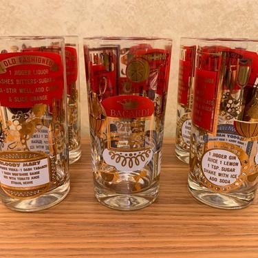 Vintage Mid Century Highball Cocktail Recipe Glasses – Set of 6
