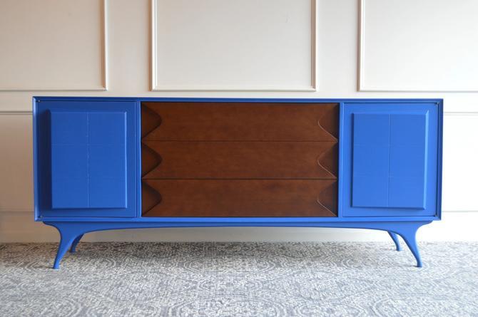 Mid Century Long dresser - Cobat blue - Item#1220 by UniquebyRuth