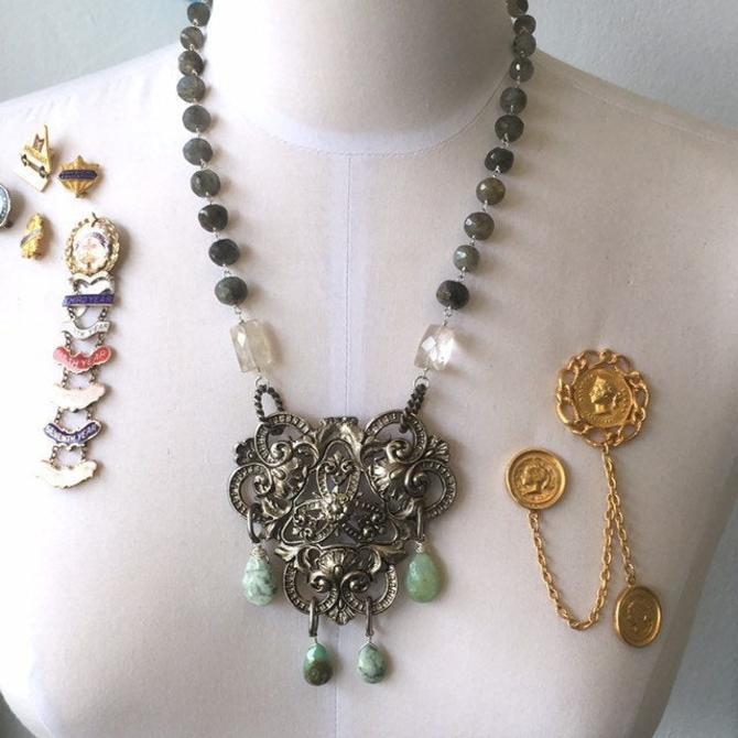A Royal Fanfare [assemblage necklace: vintage buckle, Peruvian opal, quartz, labradorite, vintage chain] by nonasuch