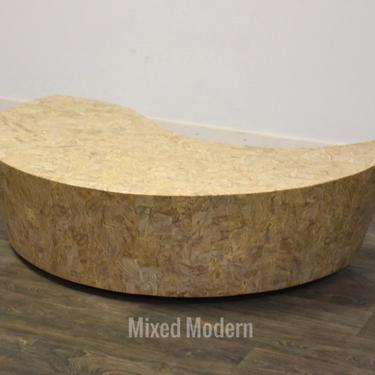 Modern Travertine Curved Coffee Table by mixedmodern1