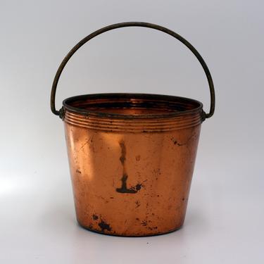 vintage West Bend copper planter or small bucket with brass handle by suesuegonzalas