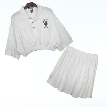 2pc White Owl Knit Polo Set