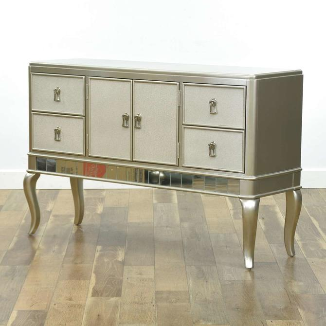 Contemporary Silver Finish Mirrored Sideboard Buffet