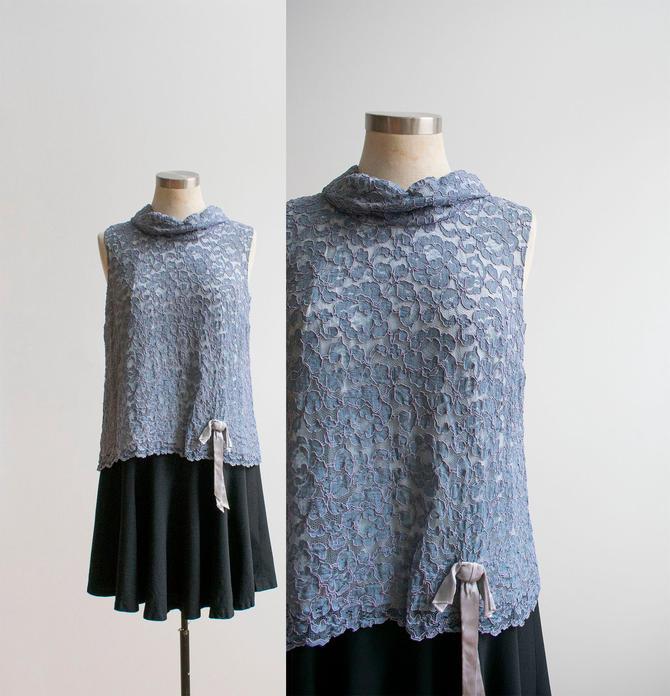 Vintage 1960s Cocktail Dress / Lace Dress / Vintage 60s Lace Dress / Vintage Drop Waist Dress / Black Skirt / Vintagge Dress Medium by milkandice