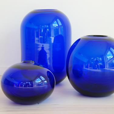 Set of 3 Vintage Cobalt Blue Glass Vases by MidCentury55