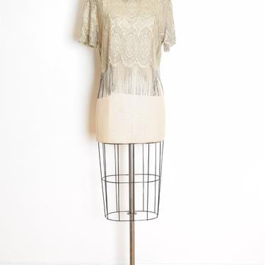vintage 80s crop top sheer metallic gold crochet lace fringe blouse shirt L XL flapper clothing by huncamuncavintage