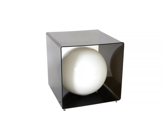 Smoke Lucite Cube Lamp Mid Century Modern by HearthsideHome