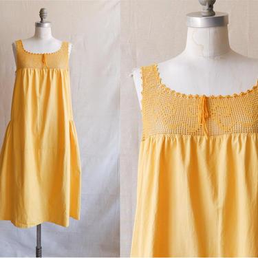 Antique Edwardian Marigold Cotton Nightgown/ 1910s 20s Yellow Mini Dress with Crochet Yoke/ Size Medium Large by bottleofbread