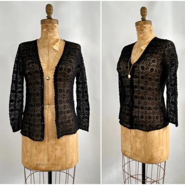KNIT PICK Vintage 70s Handmade Sweater | 1970s Hand Made Cotton Crochet Knit Black Cardigan Top | Shanghai China Boho Bohemian | Size Medium by lovestreetsf