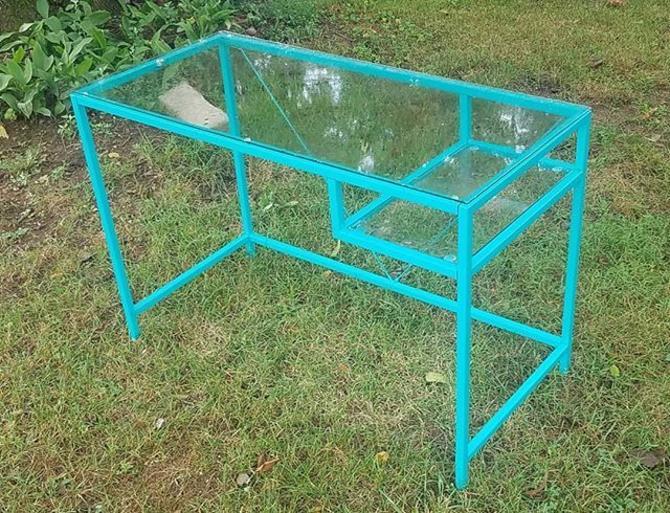 Glass Topped Mod Desk,