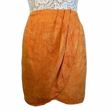 Vintage Saks Fifth Avenue Orange Linen Skirt by InstantVintage78