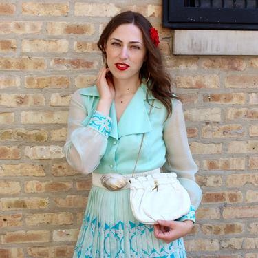 Vintage 50s White Calfskin Purse - Soft Leather Handbag Gold Chain by SecondShiftVintage