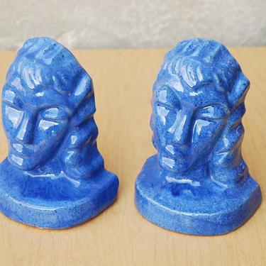 Blue Aphrodite Glazed Ceramic Modern Sculptural Bookends jk by ilikemikes