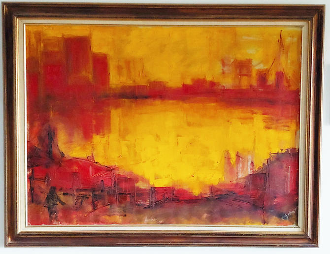 Original Abstract Painting Cityscape Skyline Bridge Signed Eleanor Johnson by ModandOzzie