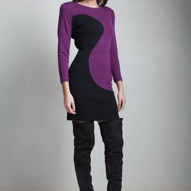 vintage 80s bodycon dress long sleeves color block fitted purple black knit dress SMALL S by shoprabbithole