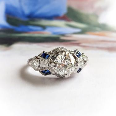 Art Deco Engagement Ring 1.19ct t.w. Old European Cut Diamond Sapphire Engraved Engagement Ring Platinum by YourJewelryFinder
