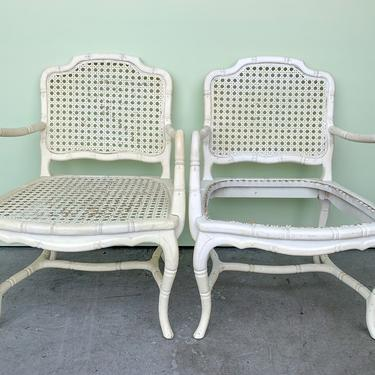 Pair of Faux Bamboo and Cane Arm Chairs