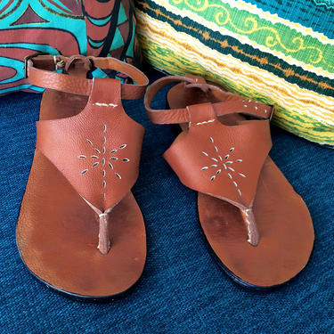 Groovy Hippie Thong Sandals Artisan Gladiator Style Ankle Strap Heavy Soft Leather Rubber Tire Tread Sole Handmade High Quality Flip Flops 7 by elliemayhems