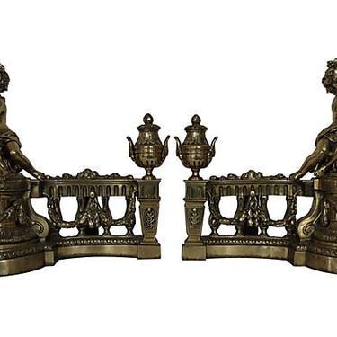 French Antique Cherub Chenets, French Andirons, Antique French Andirons, Andirons by BostonVintageStudio