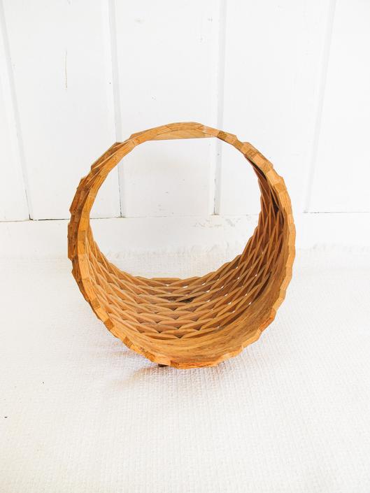 Large Retro Geometric Vintage 3D Wood Basket by PortlandRevibe