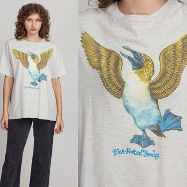 Vintage Blue-Footed Booby T Shirt - Extra Large   90s Unisex Heather Grey Bird Graphic Animal Tee by FlyingAppleVintage
