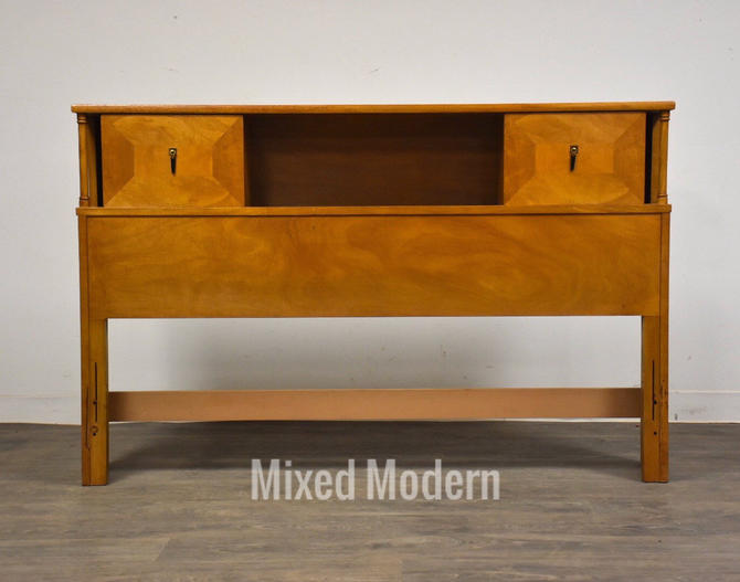 Walnut Mid Century Modern Full Double Headboard by mixedmodern1