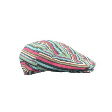 Issey Miyake Y2K Turquoise and Red Striped Newsboy Cap