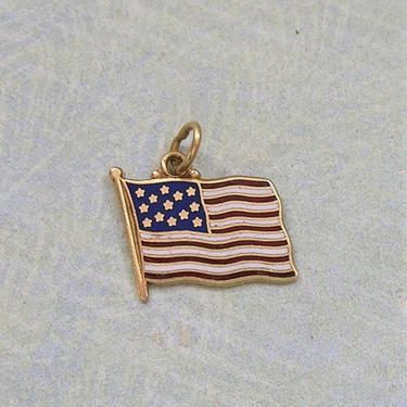 Vintage 14K Gold and Enamel Flag Charm, Old Gold Flag Charm, 14K Gold Patriotic Charm (#3897) by keepsakejewels
