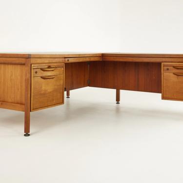 Jens Risom Mid Century Walnut L Shaped Corner Desk - mcm by ModernHill