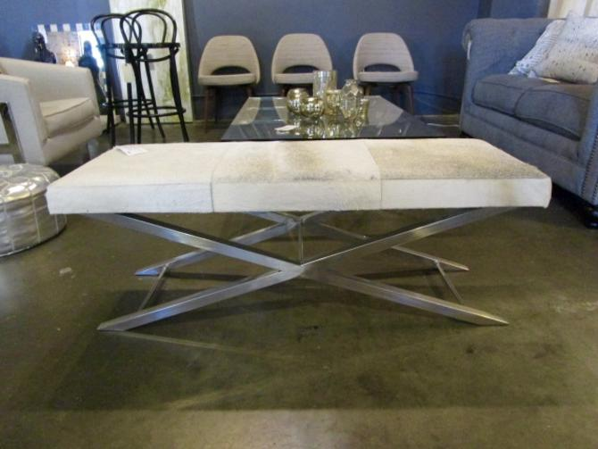COWHIDE AND CHROME BENCH