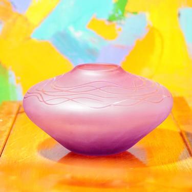 "Vintage Signed Decorative Purple/Pink Frosted Glass Bud Vase, Art Nouveau Style, Short & Wide, Round Centerpiece Vase, 5"" H x 8 3/4"" W by shopGoodsVintage"
