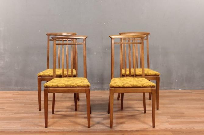 Set of 4 Mid Century Walnut & Gold Floral Dining Chairs – ONLINE ONLY