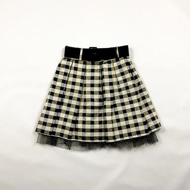 80s / 90s Black and Gold Checker Print Circle Skirt / Box Pleats / 60s / Tulle / Polka Dot / Velvet / Flocked / Holiday / Medium / Lurex / by shoptrashdotnet