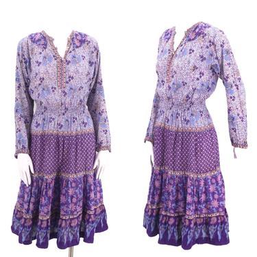 70s KAISER cotton India print peasant dress S / vintage 1970s purple hippy festival dress sz S by ritualvintage