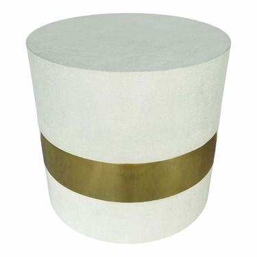 Made Goods Modern White Faux Shagreen Maxine Side Table