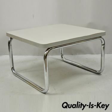 Steelcase Mid Century Gray Formica Top Chrome Base Small Square Coffee Table