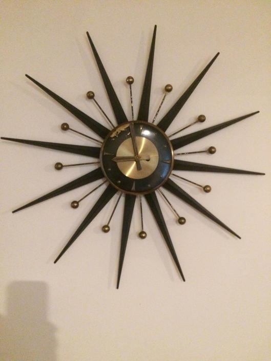 Sun burst, mid century, vintage, Danish antique wall clock. AS IS! by SouliDesign