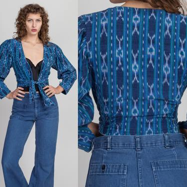 Vintage Southwestern Cropped Wrap Blouse - XS to Small | 90s Blue Deep V Puff Sleeve Crop Top by FlyingAppleVintage