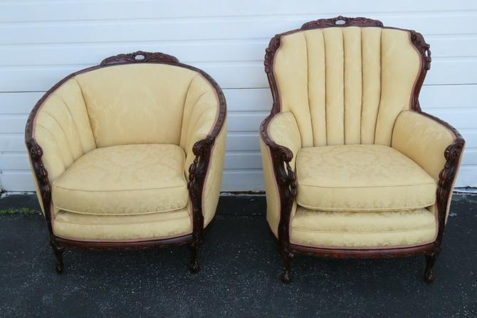 French Early 1900's Hand Carved Living Bed Room His and Hers Chairs 1650X