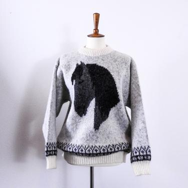 Authentic Icelandic Wool Sweater / Icelandic Wool Knit Horse Sweater by blackwellhabitat