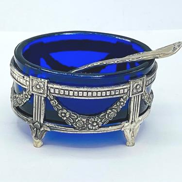 """Lovely silver Plate Oval Salt Cellar Cobalt Blue Glass and Silver Garland Decoration- Sterling spoon included- 2 .25"""" X 1 5/8"""" by JoAnntiques"""