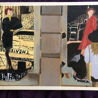 Vintage Original Figurative Fashion Painting, on illustration board, signed JC, 90, made by Joanna Cherensky in 1990. by MadCoolNYC